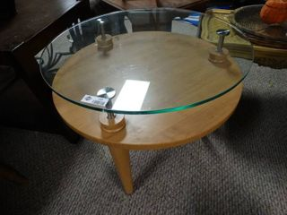 Round Wooden Coffee Table with Glass Top