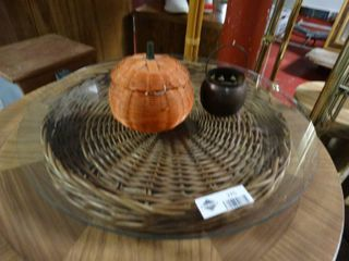 lot of Decorative Plates with Small Pumpkin Decor
