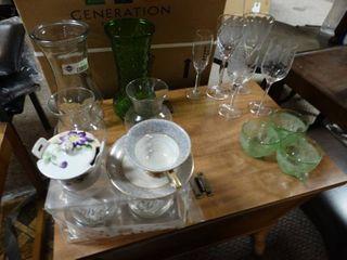 lot of Assorted Glassware  Green Teacups  Assorted Stemware  Oil lamp  Wax Warmers  Etc