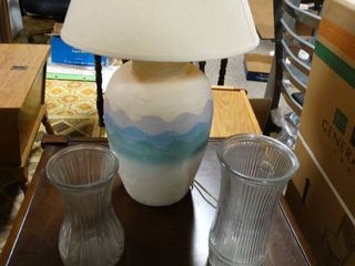 Blue and White Decorative lamp with 2 Clear Glass Vases