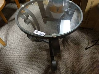 Round Glass Top Side Table with Black Metal Base