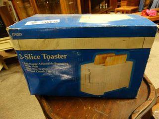 2 Slice White Toaster in Box