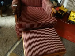 Striped Red Chair with Footrest