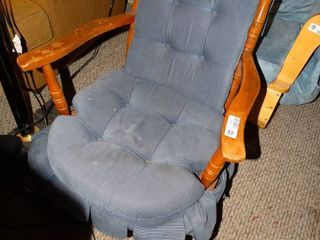 Wooden Chair with Blue Seat and Back Cushion Cover