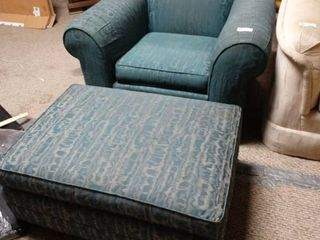 Blue Oversized Armchair with Matching large Ottoman