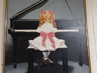 Jamora Barnett Painting of Girl Sitting at Piano