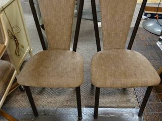 Pair of Tan Cushioned Dining Chairs with Black Metal Bases