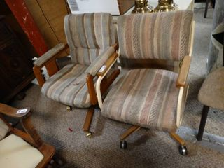 lot of 2 Striped Rolling Chairs