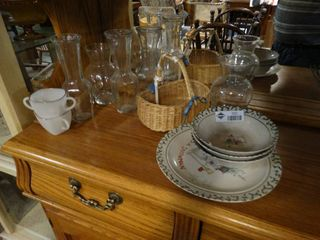 lot of Assorted Glassware  Clear Vases  Plates  Cups  Etc