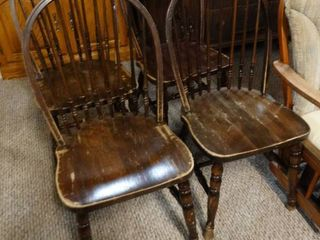 lot of 4 Dark Wooden Dining Chairs
