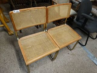 Pair of Dining Chairs with Woven Seats and Backs