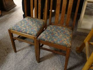 Pair of Wooden Dining Chairs with Blue leafy Cushions