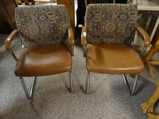 Pair of Dining Chairs with Patterned Backs and leather Seats