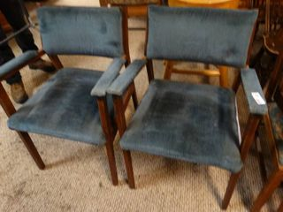 Pair of Wooden Dining Chairs with Soft Blue Cushions