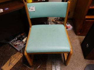 Wooden Chair with light Blue Back and Seat
