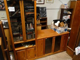 large Wooden Entertainment Center  Contents not Included