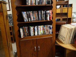 large wood corner bookshelf