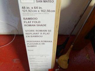 San Mateo 48  x 64  bamboo flat fold Roman shade  New in box