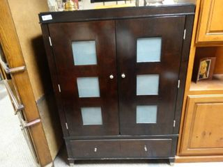 Espresso Colored Armoire With frosted Glass inserts