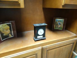 Two Curved Glass Picture Frames and Mantle Clock