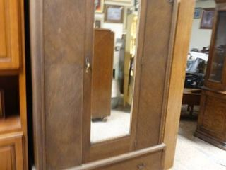 large wooden Wardrobe with Mirror