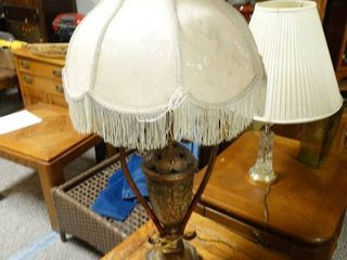 Ornate Table lamp with White Shade