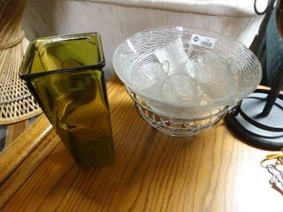 Glass Punch Bowl and Cups with Green Glass Vase