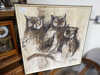 C  PETTERSON listed Artist Original Oil PAINTING Mid Century Modern OWlS Framed
