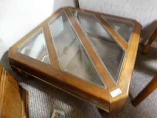 Wooden Side Table With Glass inserts