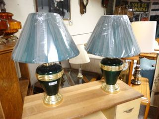 Two Matching Dark Green Table lamps with light blue shades