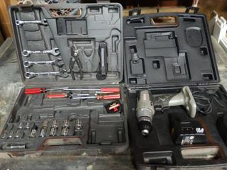 Electric Drill with Battery and Charger in Case and Tool Case with Assorted Wrenches and Screwdrivers