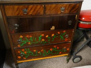 Wooden Chest of Drawers with Hand Painted flowers