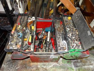 Toolbox with Misc  Hand Tools and Sockets
