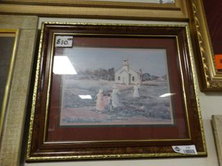 Framed Print Of School House With a Beautiful Frame
