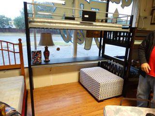 New metal loft bed w  mattress