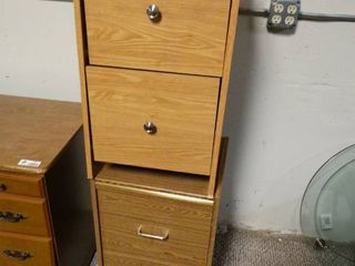 lot of 2 Wooden Filing Cabinets