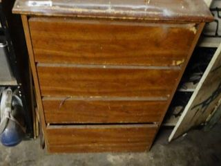 Wooden Dresser with Electric Range Burner Elements and Misc  Electrical Cords