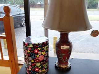 Funky metal trash can   table lamp