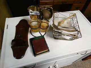 lot of Candle Holders  Wire basket ans Two Books