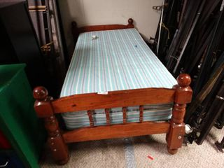 Twin Bed Set  Mattress and Nice Wooden Bed Frame