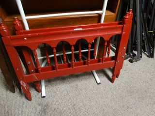 Red Wooden Twin Head and Foot Board