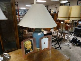 Blue table lamp with lamp shade and 2 small picture frames