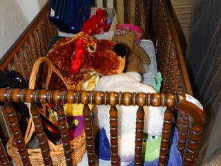 Vintage Wooden Crib with Misc  Toys
