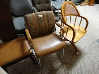 3 unique Brown colored chairs all different styles