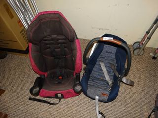 Baby 1st infant car seat blue and a toddler   child booster seat
