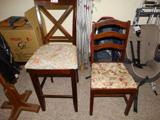 Two floral print wooden chairs