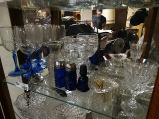 Wine glasses and salt and pepper shakers and more clear and blue