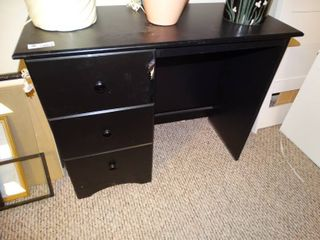 Small Black wooden desk with 3 drawers