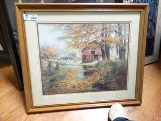 Framed landscape print  signed