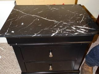 Small black and non marble top side table